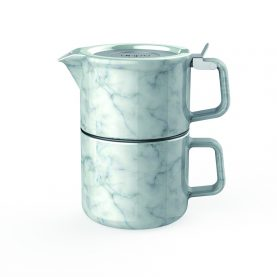 marble texture tea for one set