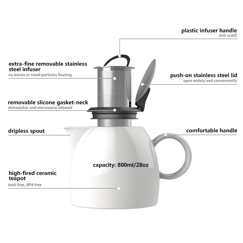 Duke Ceramic Teapot with SLS Infuser for Brewing Loose Tea