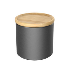 coffee canister with bamboo lid