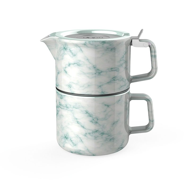 porcelain marble tea for one set