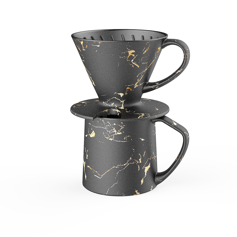 portopo black and gold marble coffee dripper with mug