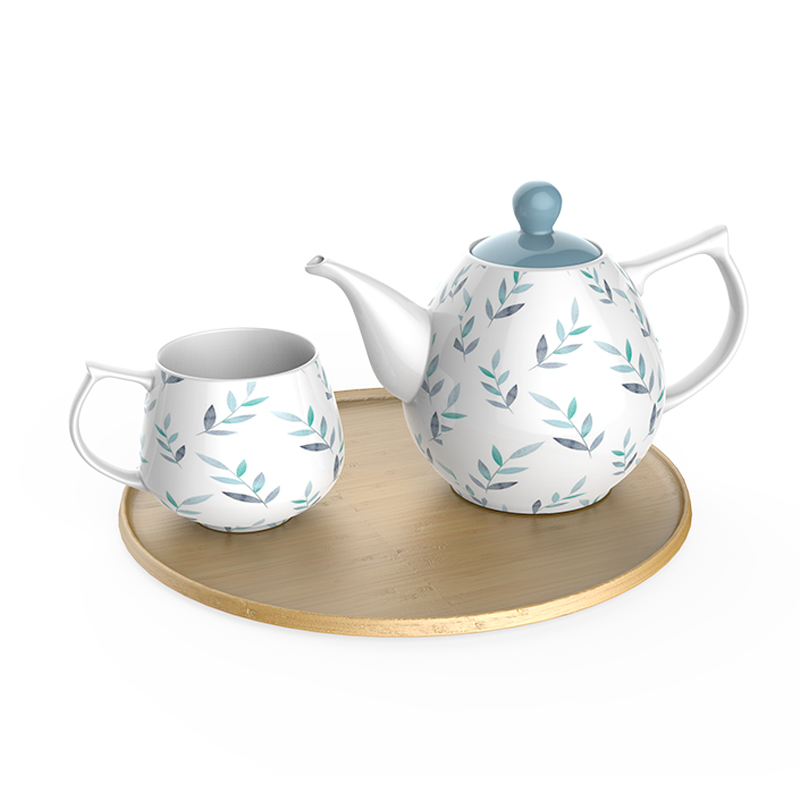 porcelain tea set with bamboo tray