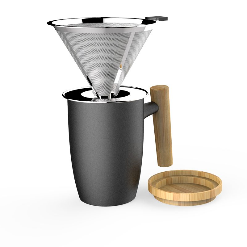 pour over coffee dripper with mug