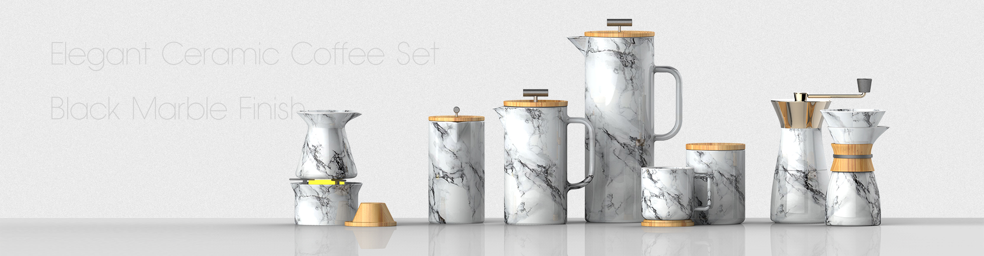 marble coffee set