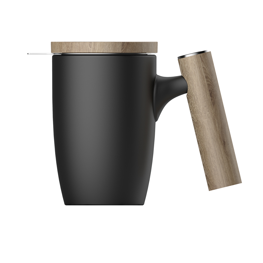 Dhpo Ceramic Coffee Mug Tea Cup Large 16 Oz Ceramic With Wooden Handle And Lid Special Design Mug As Gift Matte Black Ceramic Manufacturer Teapot Tea Mug And Coffee Cup Supplier